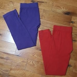 Pants - 💜♥️Purple & red soft cotton leggings bundle